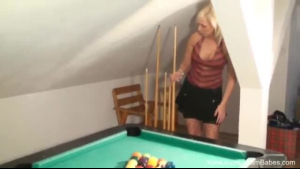 Blonde Does A Big Cock On The Pool Table