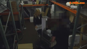 Young blonde gets rammed in the storage room