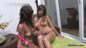Spicy brunette letting her girlfriends give her hot handjob