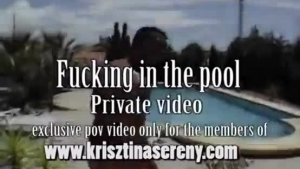 Majestic blonde with a beautiful smile fucked from behind by the pool