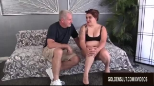 Young plumper is getting spit- roasted and FOUR more cum in her mouth and dirty ass